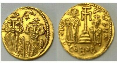 Byzantine Gold Coin Constans II, with Constantine IV, Heraclius, and Tiberius.