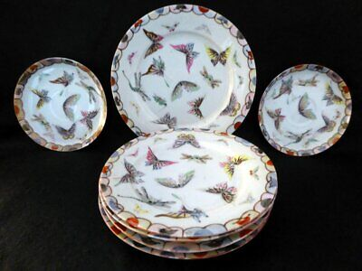 Antique Japanese  Handpainted Plates, painted and enamelled with butterflies