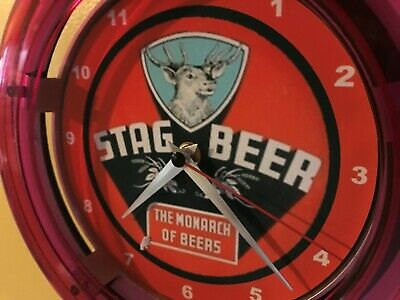Stag Griesedieck Monarch of Beer Bar Advertising Man Cave Neon Wall Clock Sign
