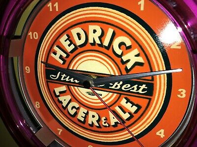 Hedrick Lager Beer Bar Advertising Man Cave Neon Wall Clock Sign