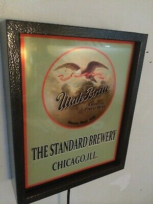 Utah Brau Chicago Beer Bar Tavern Man Cave Lighted Advertising Sign