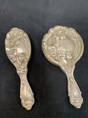 Sterling Silver Brush And Mirror Set