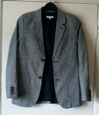 John Lewis jacket age 10 navy tiny check cotton blazer fully lined smart
