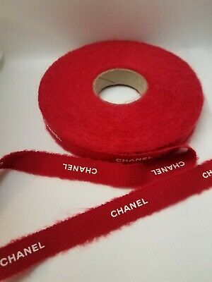 """100% Authentic Red CHANEL White Lettering Gift Wrap Hairbow Ribbon 1/2"""" W"""