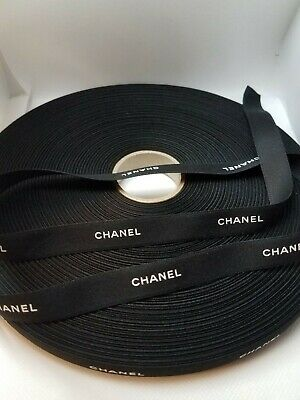 """100% Authentic BLACK CHANEL WHITE Lettering Gift Wrap Hairbow Ribbon 1/2"""" W"""