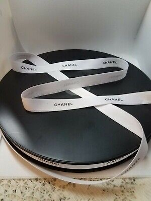 """100% Authentic WHITE CHANEL BLACK Lettering Gift Wrap Hairbow Ribbon 1/2"""" W"""