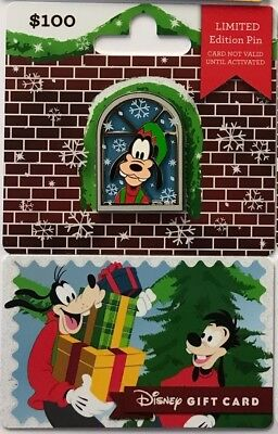 Disney Parks Goofy 2018 Holiday Christmas Present Gift Card Pin LE 2625