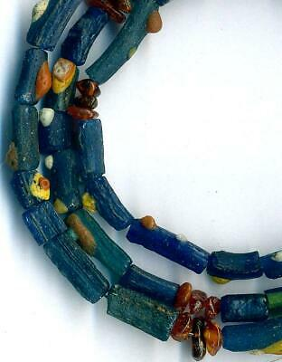 Roman Ancient Blue Glass Beads Encrusted Tubes Baltic Amber~Centuries Old~ 22""