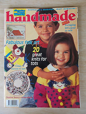 Handmade Autumn '92~Sew~20 x Knitting Patterns~Embroidery~Folk Art~Clowns....