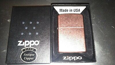 Zippo Lighter, Antique Copper Finish, Windproof light use.