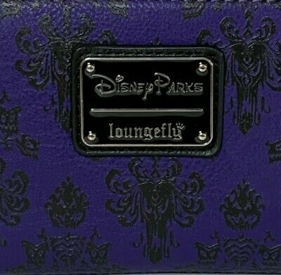 BRAND NEW Disney Parks Loungefly Haunted Mansion Wallpaper Purple Zip Wallet NWT