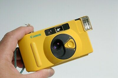 Canon SNAPPY S point & Shoot compact film camera! Yellow! Tested works! Nice!