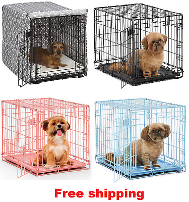 "24"" Pet Dog Cat Crate Kennel Cage Bed pan Folding Metal Playpen & Cover Optional"