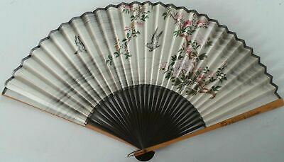 Antique Chinese Export Wood & Painted Paper Fan - Birds And Flowers Scene