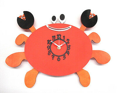 Crab Wooden Childrens / Kitchen Wall Clock With Pendulum.new & Boxed.wood