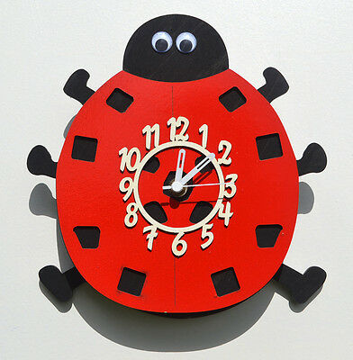 Ladybird Wooden Childrens / Kitchen Wall Clock With Pendulum.new & Boxed.wood