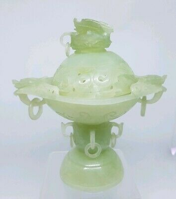 Antique Chinease Hand Carved Jade Cencer Dragons