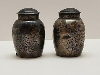 vintage pair of Sterling Silver salt and pepper shakers SIAM