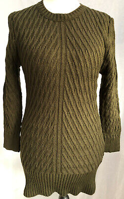 Ladies Chunky Chain Knitted Jumper-Dress Crew Neckline Khaki New Winter wear UK
