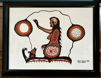 Eddie Kakepetum Mother And Bear Acrylic On Canvas 1980 First Nations