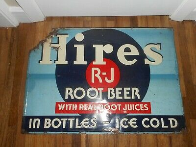 Vintage HIRES ROOT BEER SODA POP ICE COLD BOTTLES Metal Advertising SIGN