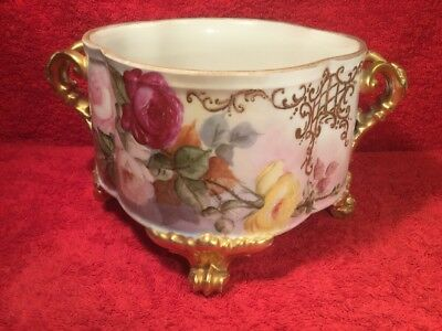 Planter Antique Jardiniere Planter Hand Painted Roses Porcelain, c.1904
