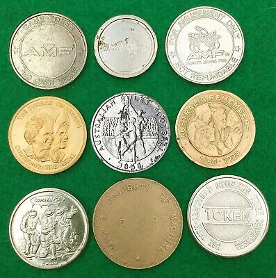 AUSTRALIA:- 9 different eclectic themed medallions & tokens c1990's. AP7856