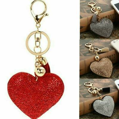 Love Heart Keychain with Tassel Rhinestone Key Holder Keyring Charm Pendant Gift
