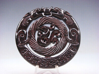 Old Nephrite Jade Stone Carved LARGE Pendant Double Dragons & Phoenix #03121901