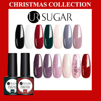 Christmas Nail Gel Polish UR SUGAR UV LED Set Colour Varnish Glitter Coat 7.5ml