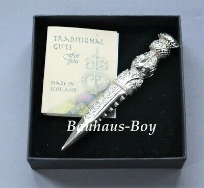 Art Pewter KILT PIN PEWTER THISTLE DIRK LARGE POLISHED MADE in SCOTLAND MENS NEW