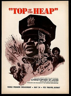 1972 Top Of la Heap Christopher st John Blaxploitation Movie Liberación Trade Ad