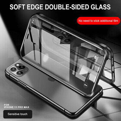 For iPhone 11 Pro X XS XR Max Hybrid 360° Dual Tempered Glass Full Case Cover