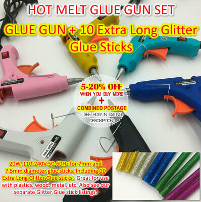 Hot Melt Glue Gun Craft Set 7-7.5mm Glitter Colour Adhesive stick Kids Crafts