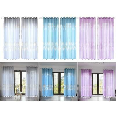Leaves Printed Semi-Blackout Curtains Living Room Bedroom Windows Drapes NEW