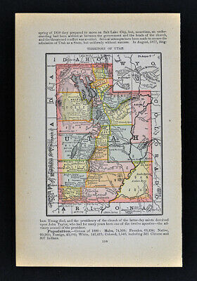 1884 McNally Map Utah Salt Lake City Provo Ogden Moab Castle Valley Manti Nephi