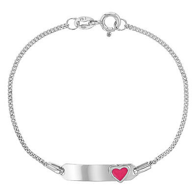 925 Sterling Silver Pink Heart Chain Link Girls ID Bracelet Identification 6""