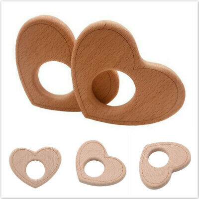 Heart Shape Wooden Teether BPA Free Teething Nursing DIY Chewable Teether BS