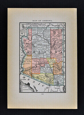 1884 McNally Map Arizona Phoenix Tuscon Tombstone Prescott Grand Canyon Yuma AZ