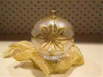 Christmas Ornament Frosted  Glass with Gold Stars Ball matching Ribbon NIB