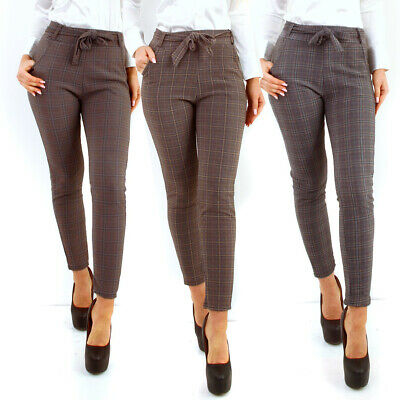 10016 Damen Karo Hose Treggings Business Karierte Gummibund Pants Simfit