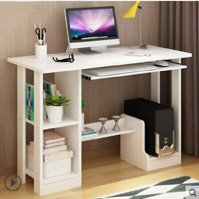 Corner Computer Desk L shaped Gaming PC Laptop Table Shelves Office Home White