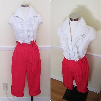 Original 1950s American Killer Bad Girl Jumpsuit Red White Rare 2 Piece