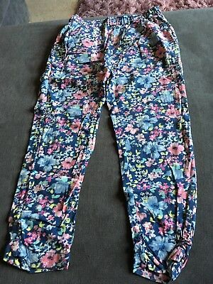 Next Girls Blue Pattern Trousers Size 7 Years Good Condition