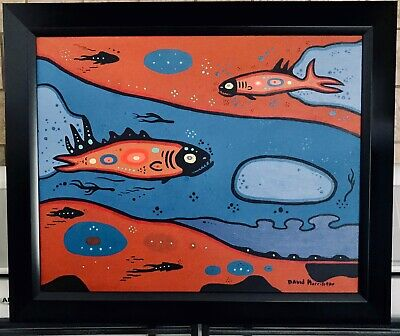 David Morrisseau Spirit Fish  Acrylic On Canvas  First Nations