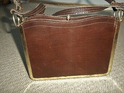 STUNNING VINTAGE 1950's SMALL TAN LEATHER BOXY SHOULDER BAG