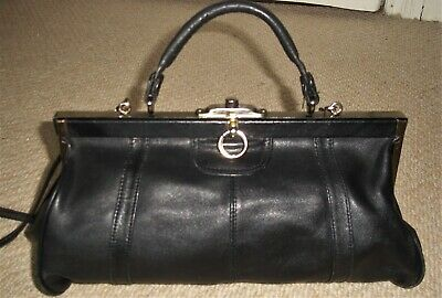 Stunning Vintage Black Leather Top Handle Gladstone Bag/Shoulder Bag