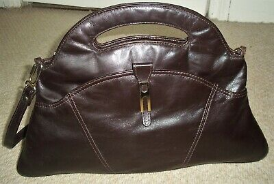 Stunning Vintage Large Chocolate Brown Leather Grab Bag/Shoulder Bag