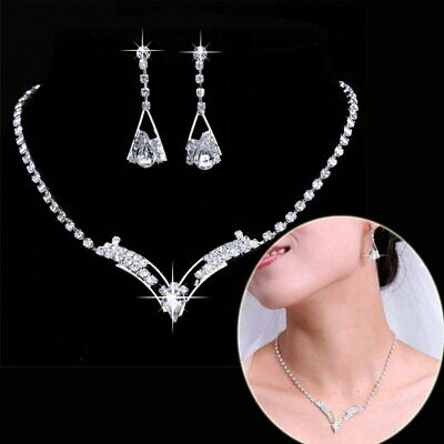 Luxury Silver Crystal Wedding Bridal Bridesmaid Necklace Earrings Jewelry Set