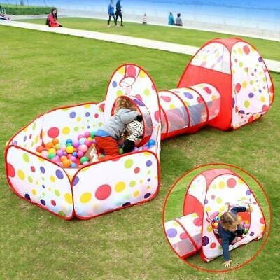 3in1 Portable Childrens Kids Baby Pop Up Play Tent Tunnel Ball Pit Playhouse RED